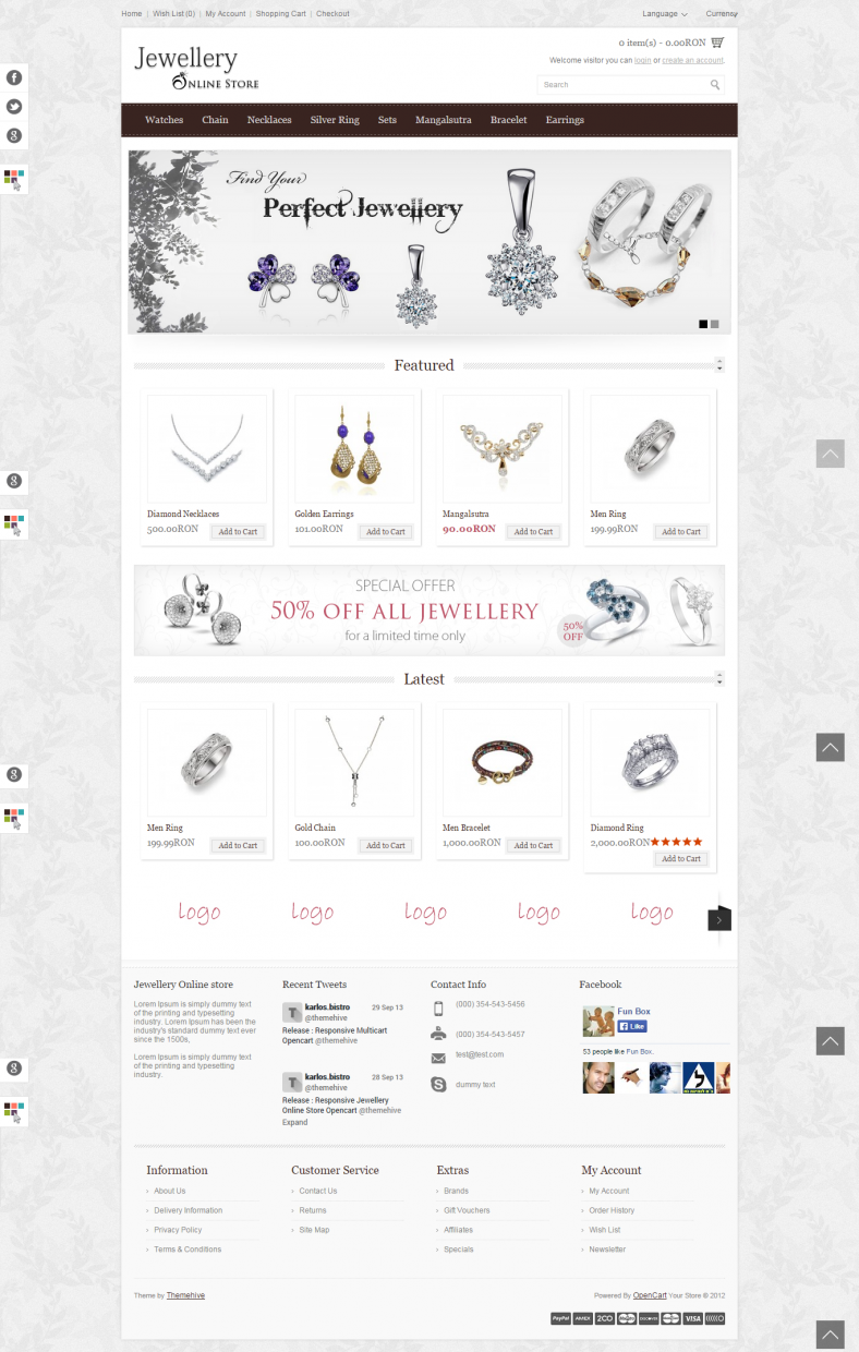 Jewellery Online Store Opencart Responsive Theme