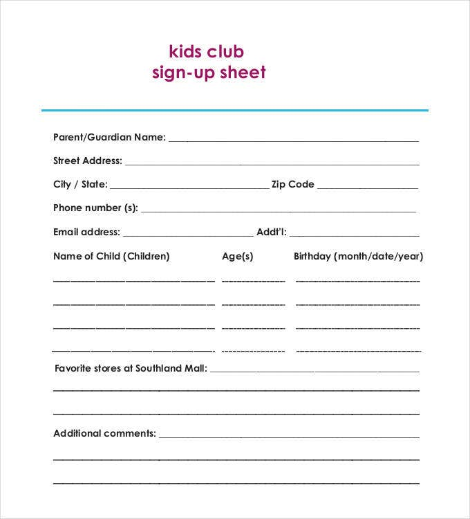 Kids Club Sign Up Sheet  Club Sign In Sheet Template