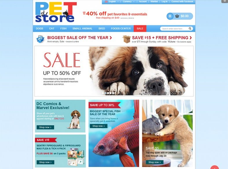 Latest Magento Pet Store Theme