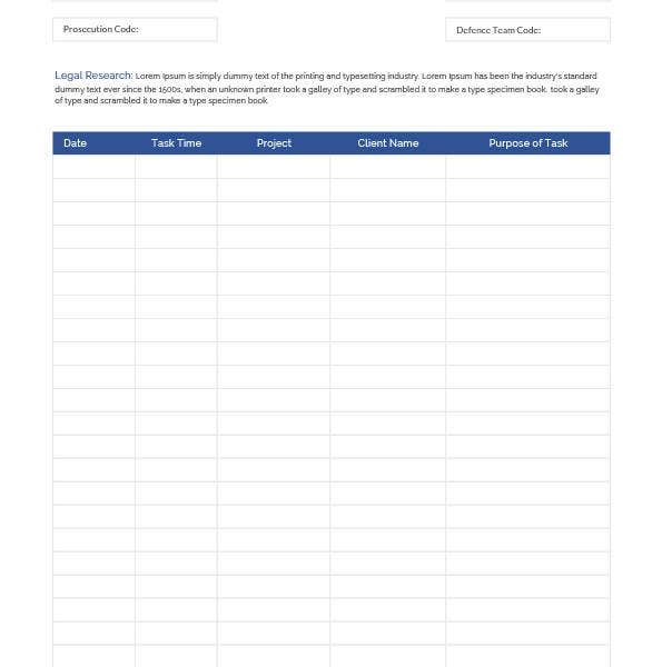 lawyer time sheet template
