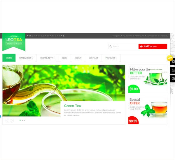 leo tea shop prestashop theme