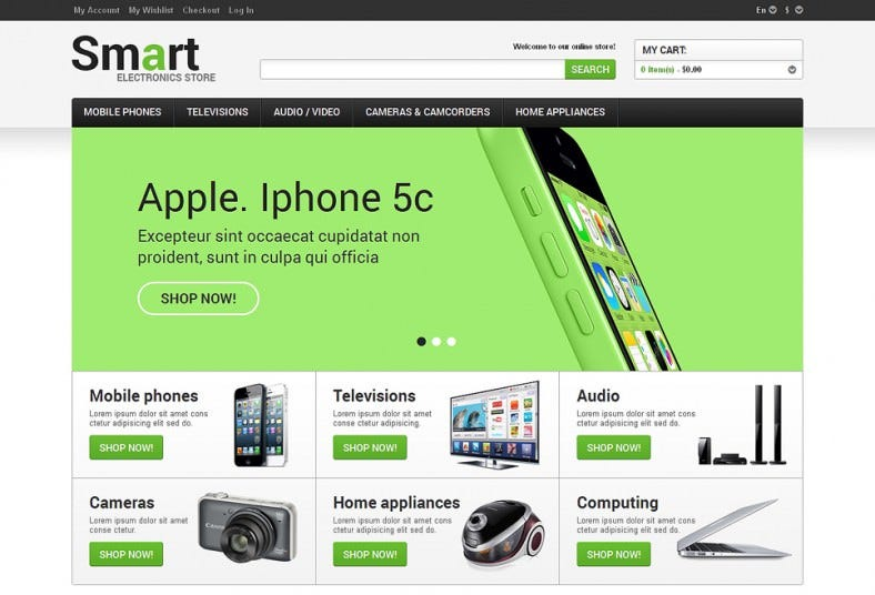 magento template for electronic appliances store 788x536