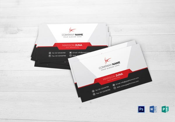 manager business card word template