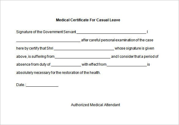 format for medical certificate from doctor