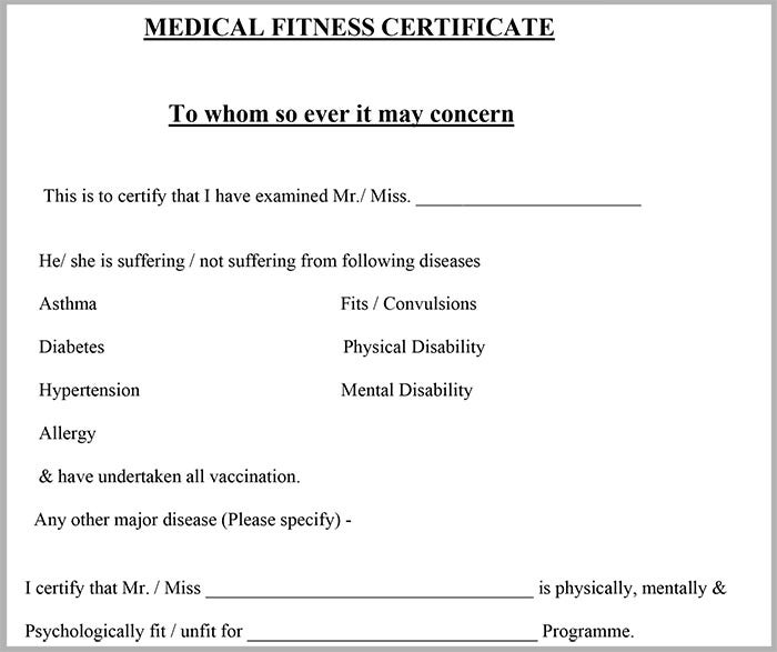 Fit To Fly Certificate Template