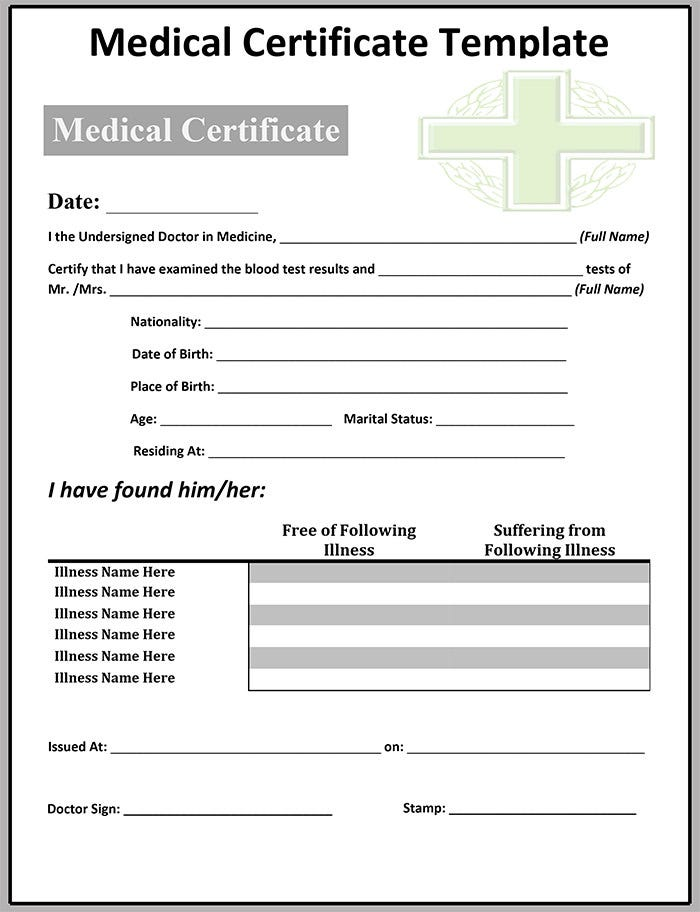 Doc692934 Free Medical Certificate free medical certificate – Medical Certificate Format