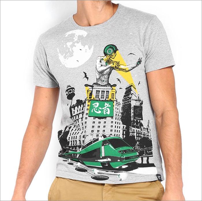 men grey melange printed t shirt