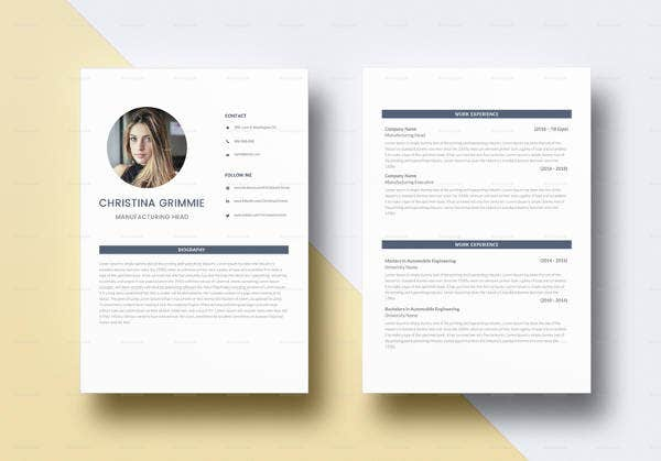 minimal automobile resume template in psd