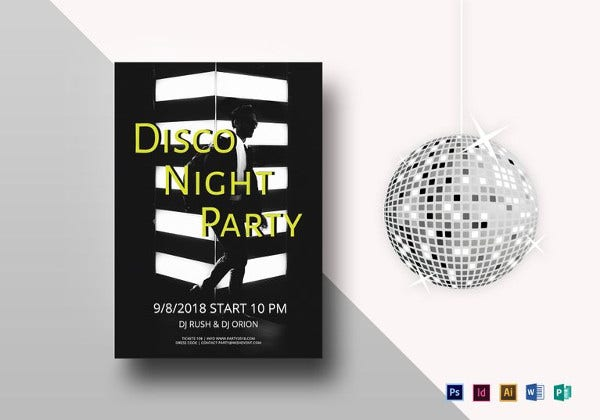 minimalistic disco night party flyer template