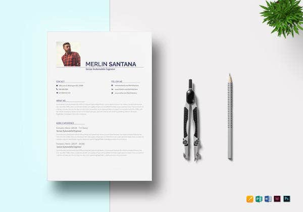 modern automobile resume template