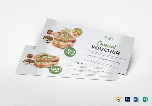 modern food voucher template in psd