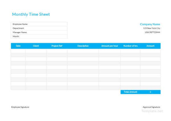 monthly time sheet template