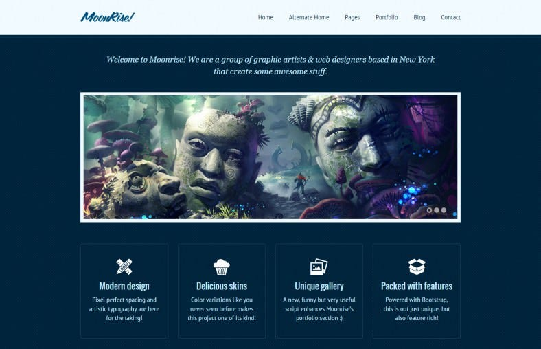 moonrise bootstrap html template 788x508