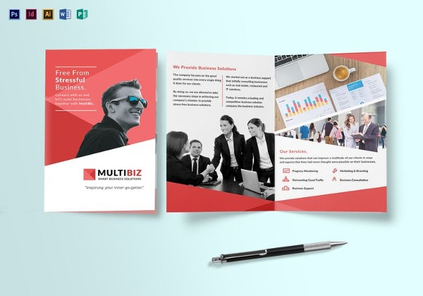 Multipurpose Business Bi Fold Brochure Template  Free Brochure Design Templates Word