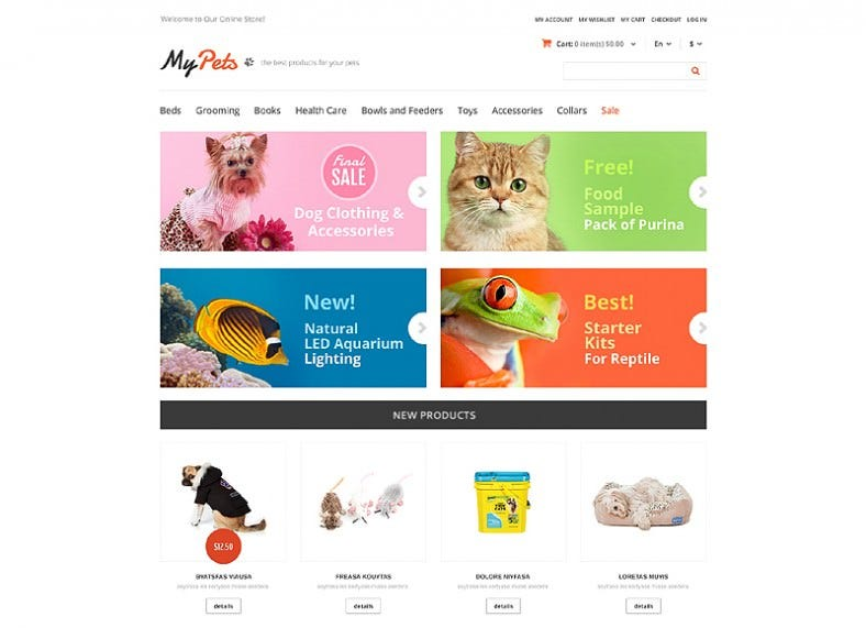 My Pets Responsive Store Magento Theme
