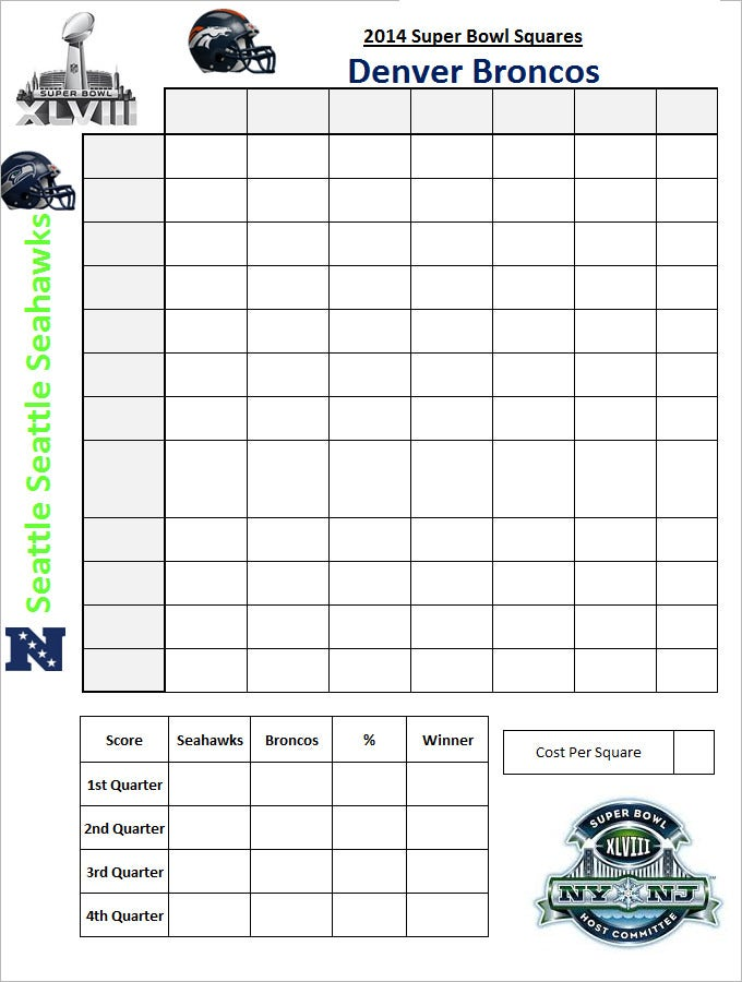 Sample Super Bowl Squares Template for Free Download 33vGpev9