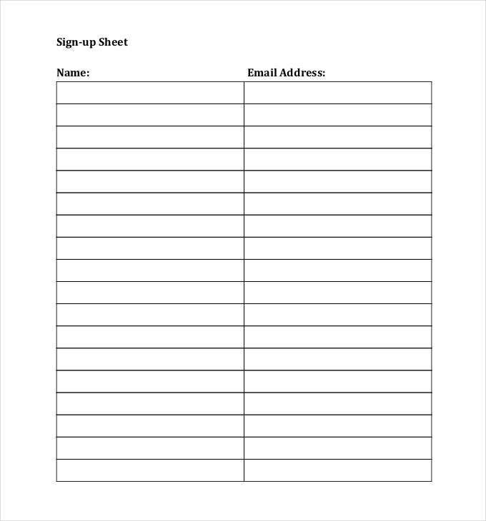 sign up sheets