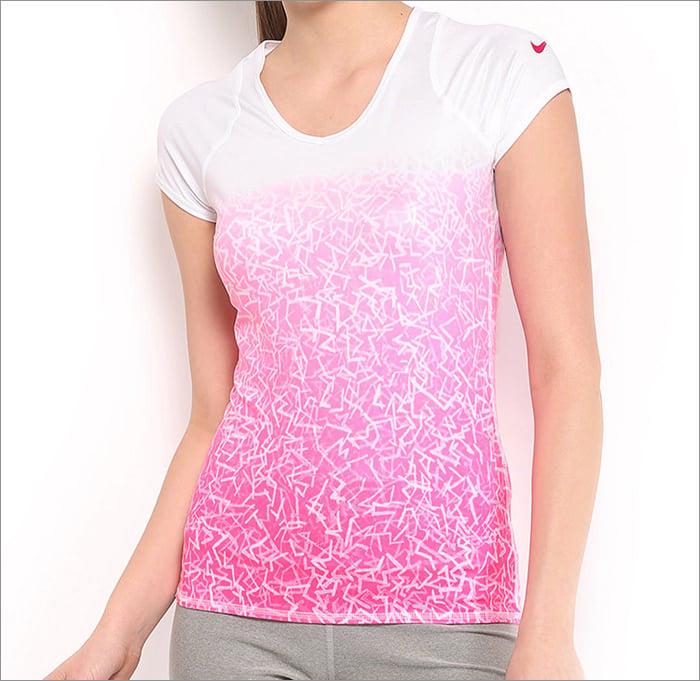 nike women pink white advantage printed t shirt
