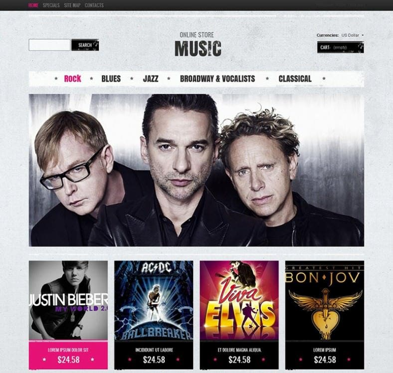 Online Music Store Magento Theme