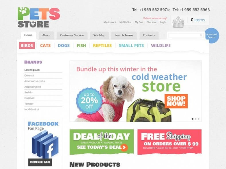 Online Pet Shop Magento Template