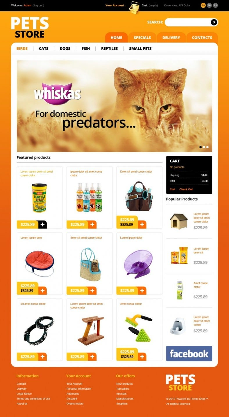 10 best pet store prestashop website templates themes for Good sites for online shopping