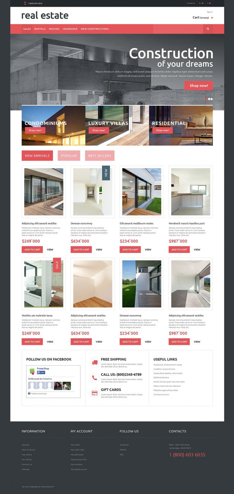 Online Real Estate PrestaShop Template