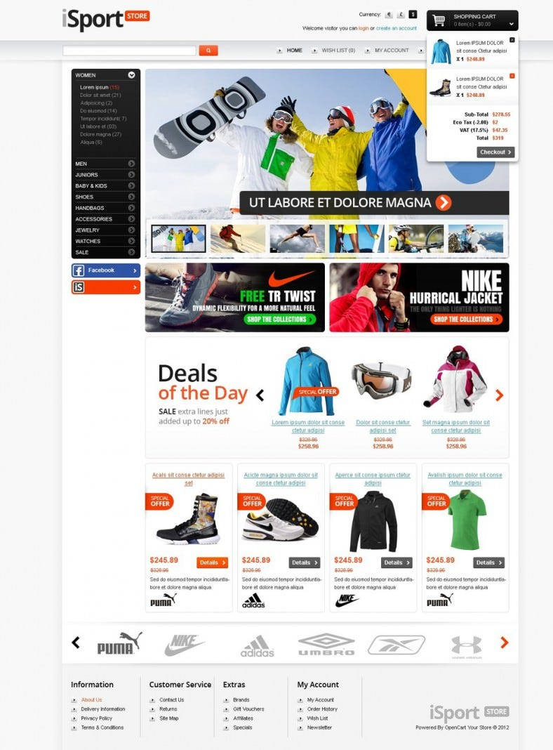 OpenCart Template for Sports Store