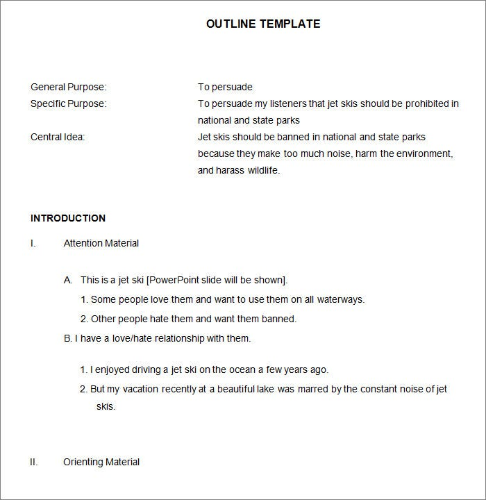 21 Outline Templates Free Sample Example Format Download – Outline Template