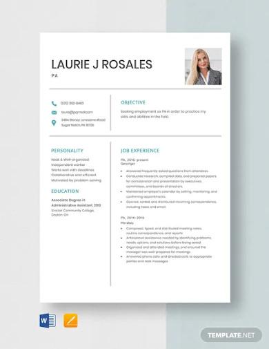 pa resume template