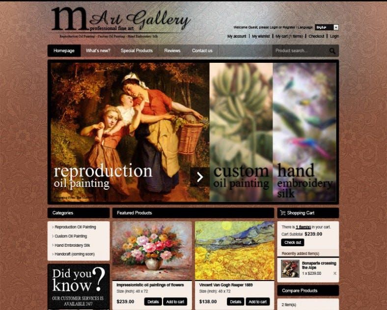 Painting Gallery Magento Template