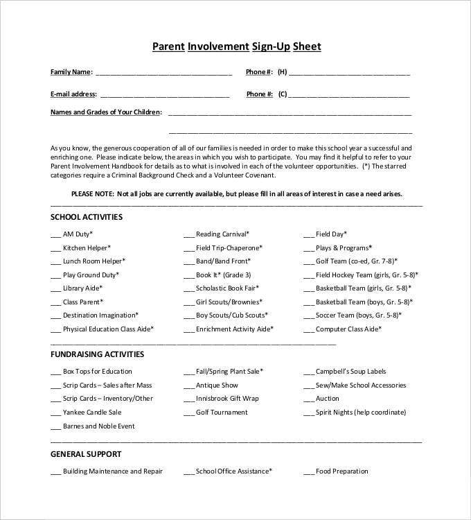 parent-involvement-sign-up-sheet