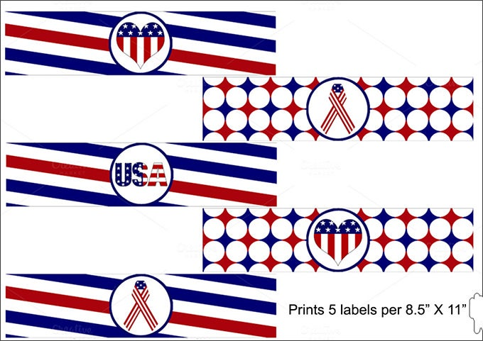 patriotic america water bottle label