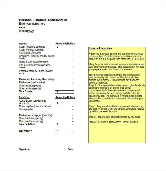 Financial Statement Templates PDF DOC Free Premium Templates - Personal financial records template