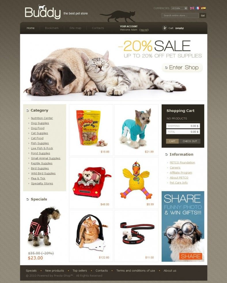 Pet Store E-commerce PrestaShop Template