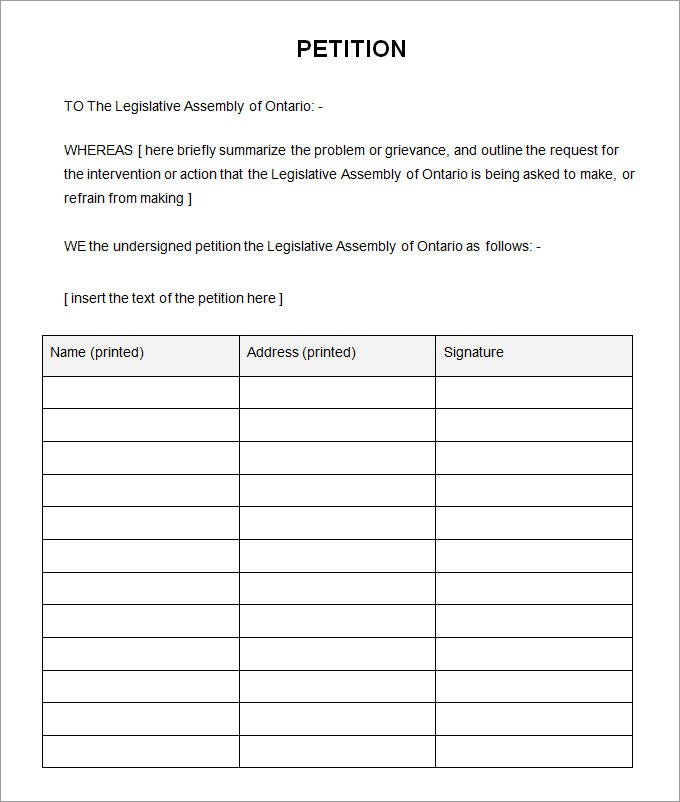 5 petition templates free pdf word documents download With petitions template