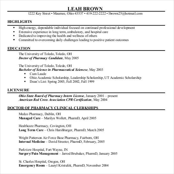 pharmacy chronological resume
