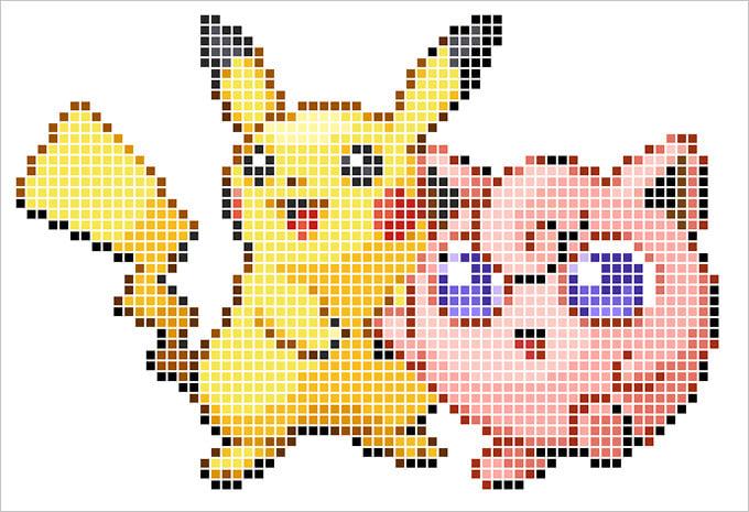 pikachu and friend pixel art free