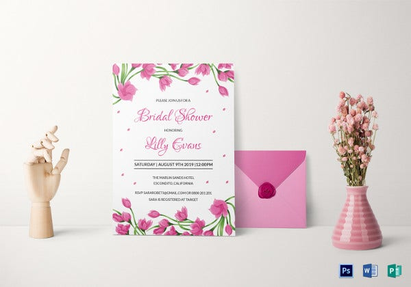 27 best blank invitation templates psd ai free premium templates pink floral bridal shower invitation template stopboris Image collections