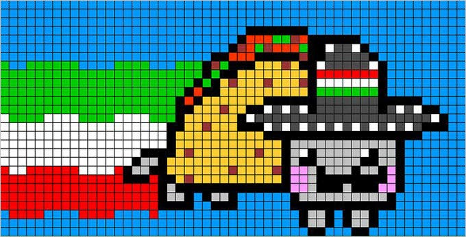 pixel art nyan cat free template