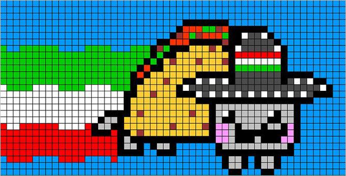 Pixel Art Nyan Cat Free Template