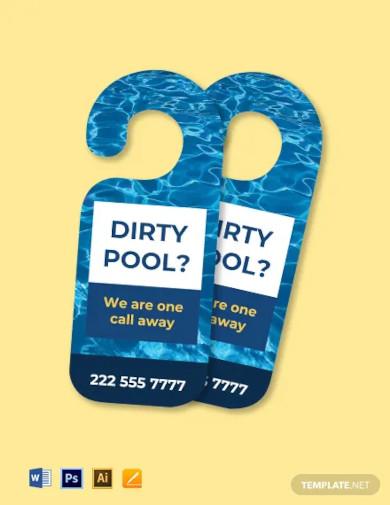 pool cleaning company door hanger template