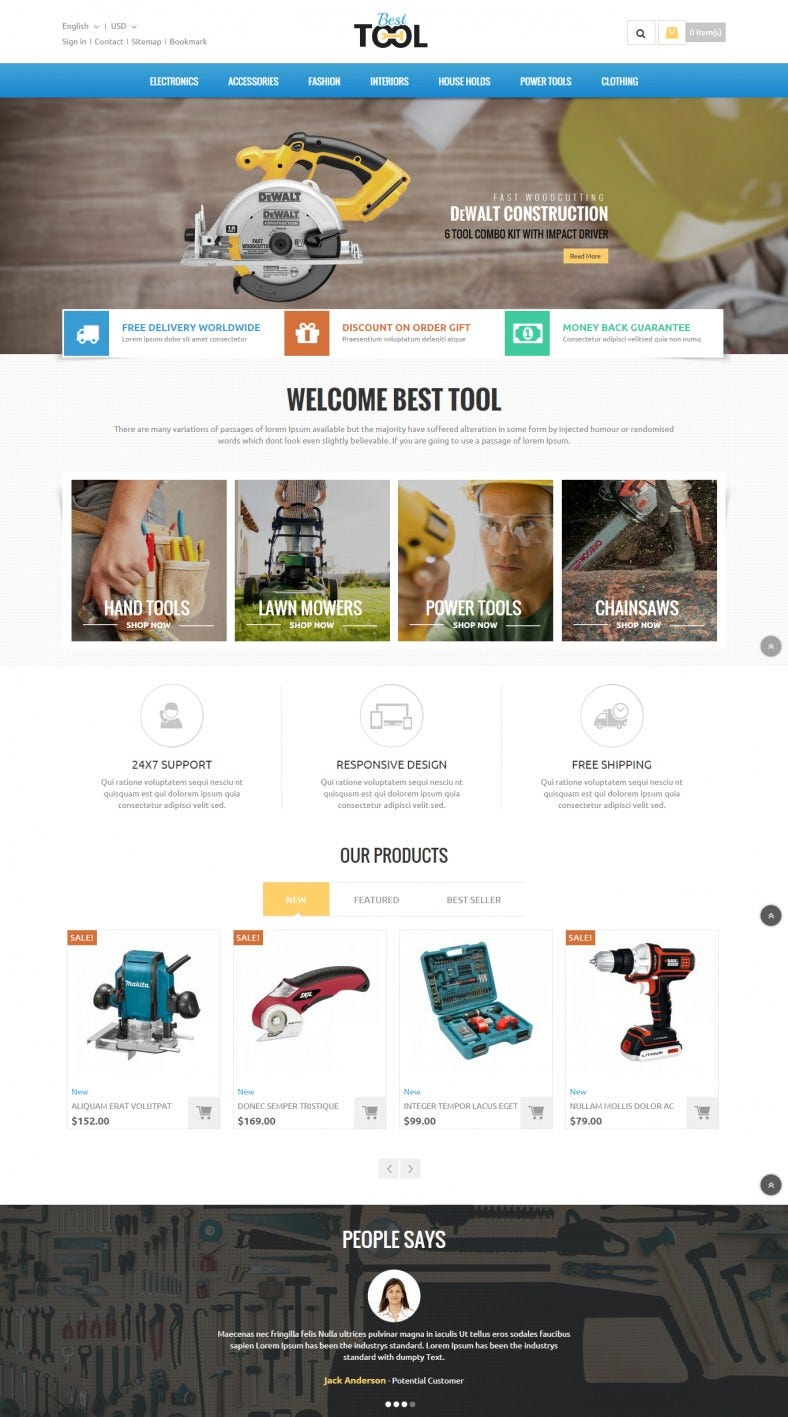 Prestashop Theme for Automobile Tools Store