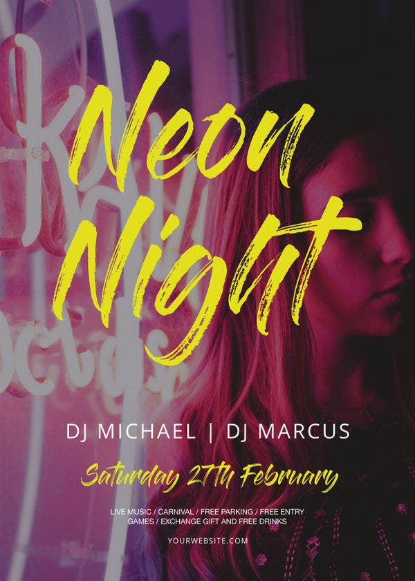 printable neon style party flyer template