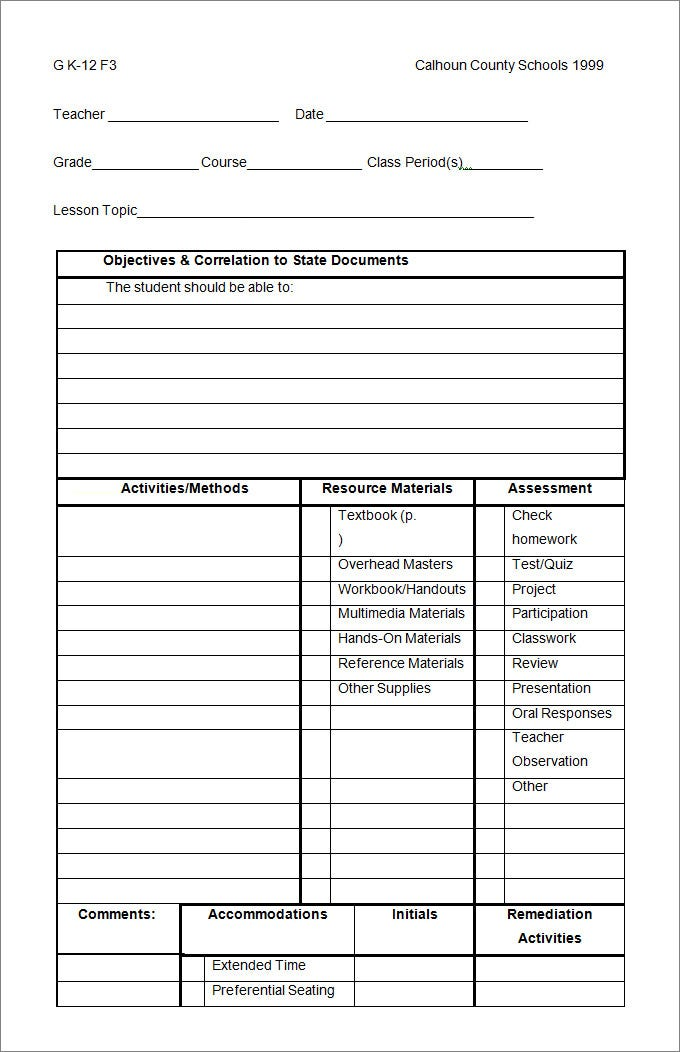Lesson Plan Template PreSchool Lesson Plan Template nkNBxNrD
