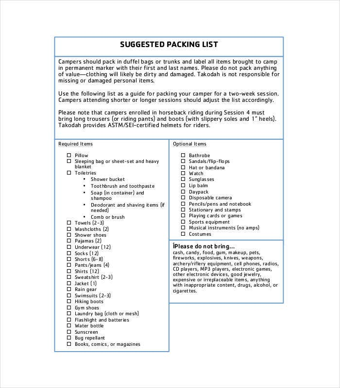 25  packing list templates