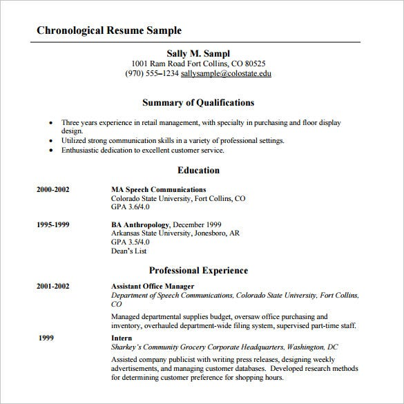 Chronological Resume Template Sample