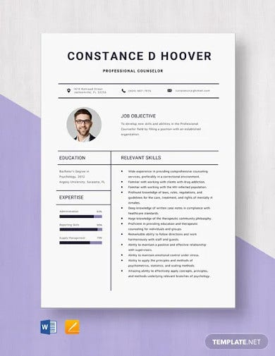 professional counselor resume template
