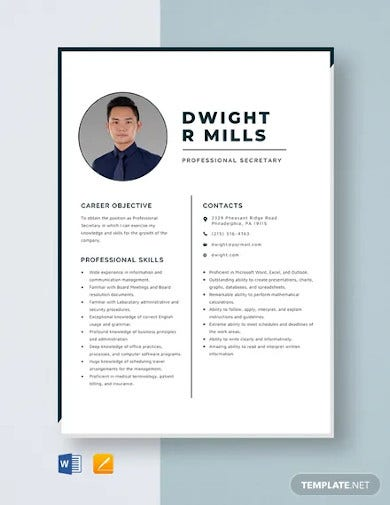 professional secretary resume template