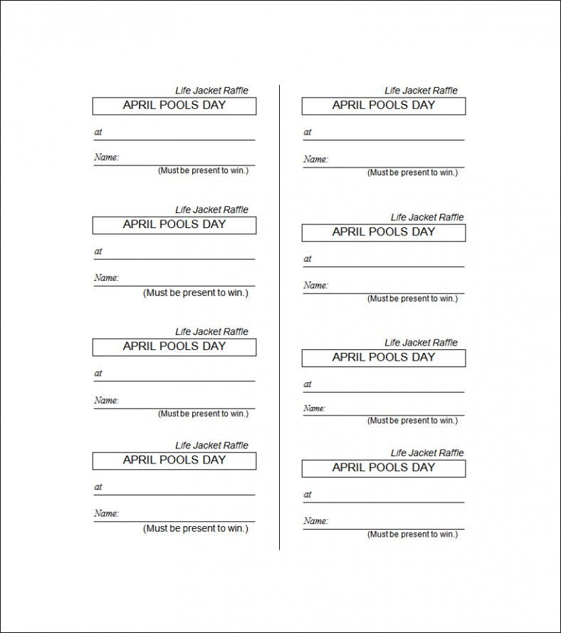 Printable Ticket Template Microsoft Word - Raffle ticket template word