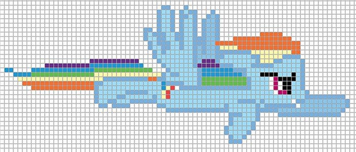 rainbow dash flying minecraft pixel art template1